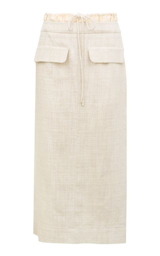 Taylor Drawstring Cotton-Linen Pencil Skirt