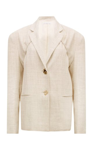 Ashley Oversized Tie-Accented Cotton-Blend Blazer