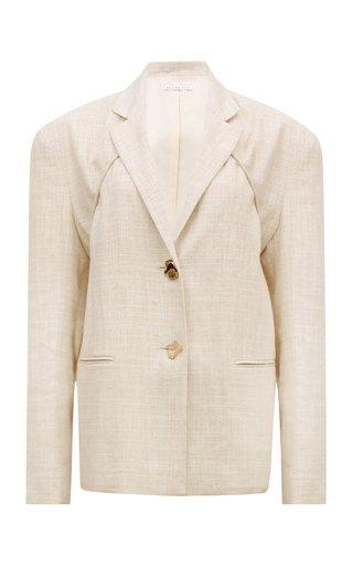 Ashley Oversized Tie-Accented Cotton-Blend Blazer