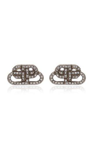 BB Crystal-Embellished Silver-Tone Earrings