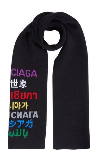 Multilingual Logo Wool-Blend Scarf
