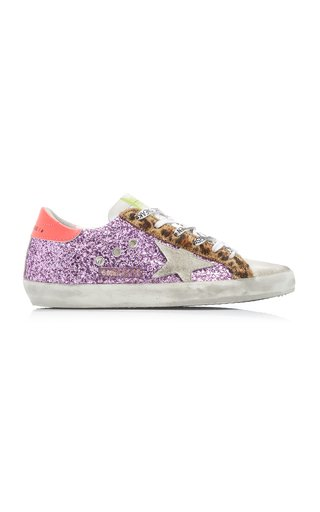 Superstar Low-Rise Glittered Suede Sneakers