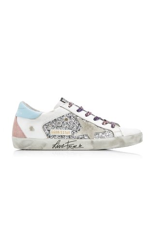 Superstar Low-Top Glittered Leather Sneakers