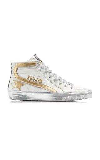 Slide Metallic High Top Leather Sneakers