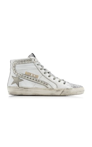 Slide Studded Leather High-Top Sneakers
