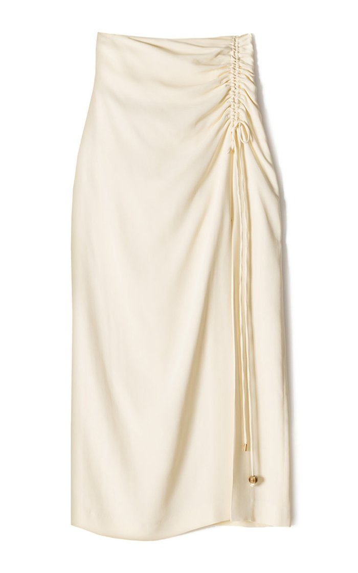Malorie Ruched Georgette Midi Skirt
