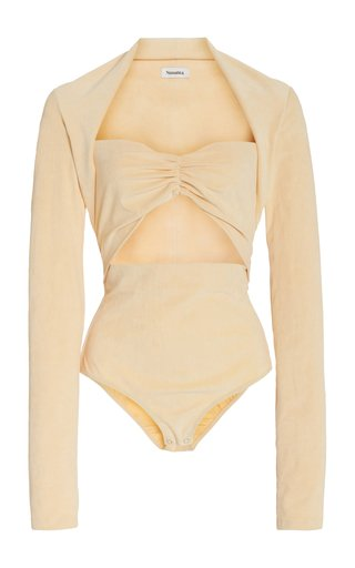 Heidi Cutout Stretch-Velvet Bodysuit