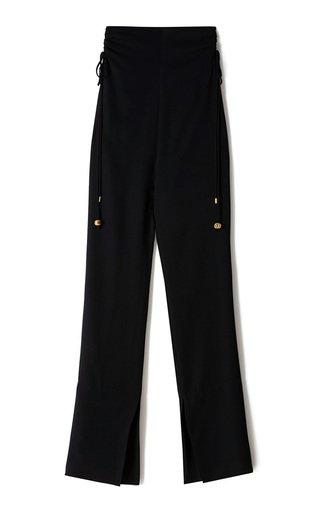 Leslie Ruched Georgette Split-Leg Pants