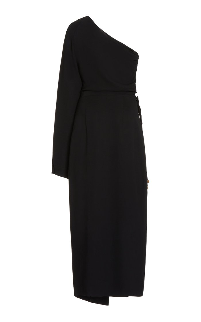Aram Ruched Georgette One-Shoulder Midi Dress