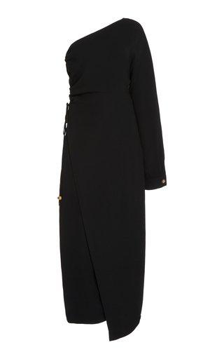 Aram Ruched Georgette One-Shoulder Midi Dress