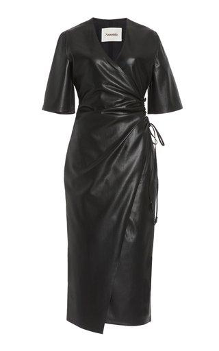 Helisa Vegan Leather Midi Wrap Dress