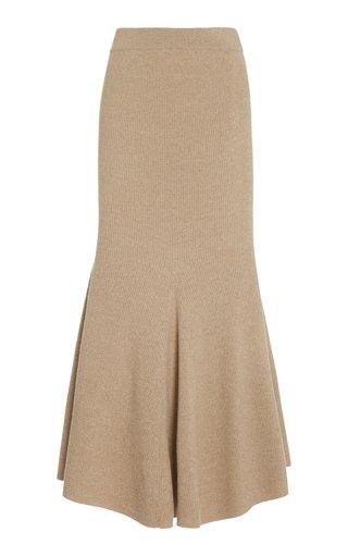 Alina Flared Mélange Wool Midi Skirt