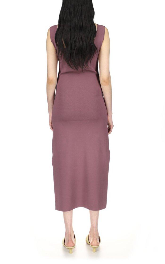 Melon Belted Compact Knit Midi Dress