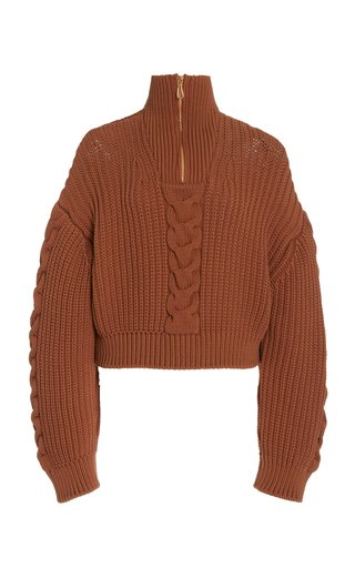 Eria Cable-Knit Cotton-Blend Cropped Sweater
