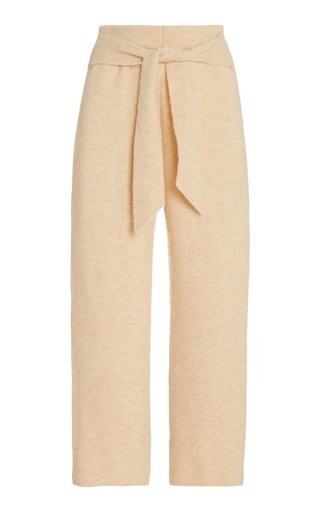 Nea Wrap-Front Fluffy Knit Cropped Pants