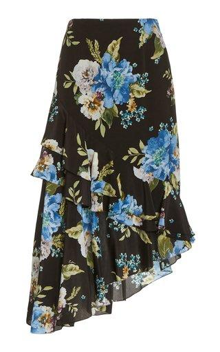 Antoinette Asymmetric Floral Silk Skirt