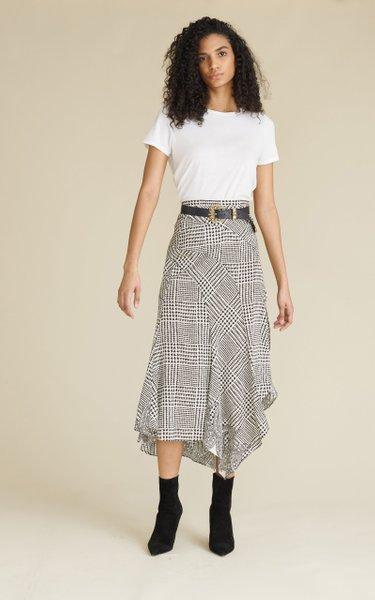 Mac Paisley Houndstooth Silk-Blend Midi Skirt