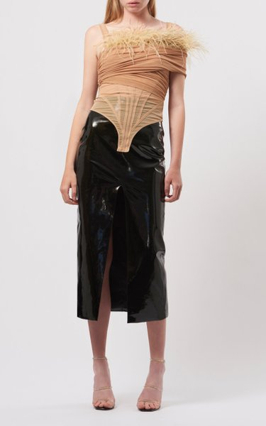 Feather-Trimmed Draped Mesh Bodysuit