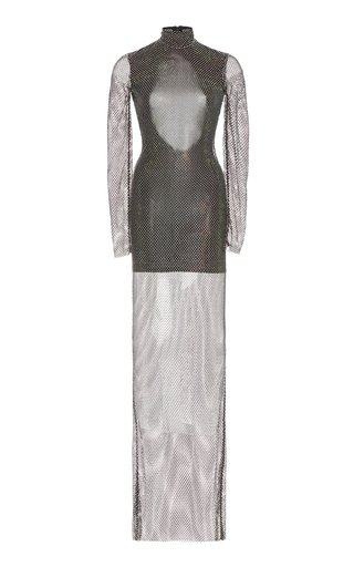 Crystal-Mesh Lined Turtleneck Gown
