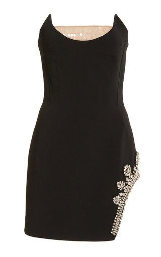Sequin-Detailed Crystal-Embellished Crepe Mini Dress