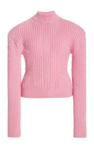 Embellished Ribbed-Knit Sweater