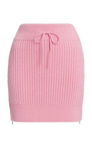 Ribbed-Knit Drawstring Mini Skirt