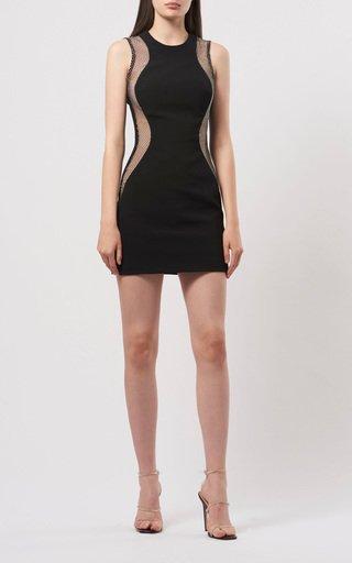 Crystal-Mesh Crepe Mini Dress