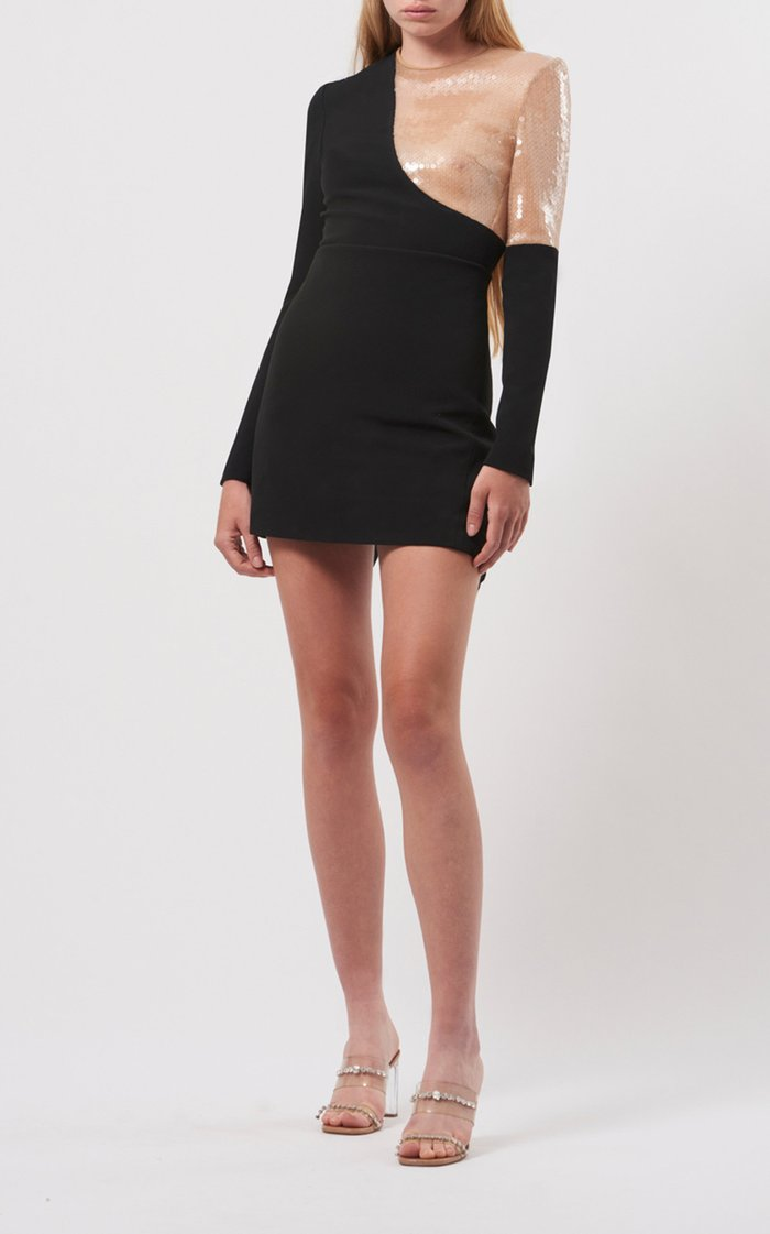 Sequin-Inset Crepe Mini Dress