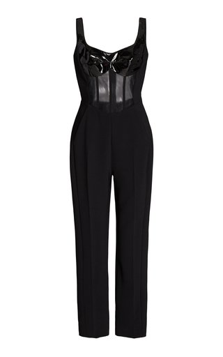 Patent Leather-Detailed Mesh And Crepe Jumpsuit