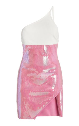 Knit And Sequined One-Shoulder Mini Dress