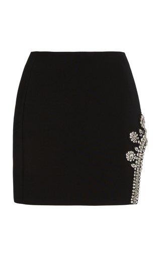 Crystal-Embellished Crepe Mini Skirt