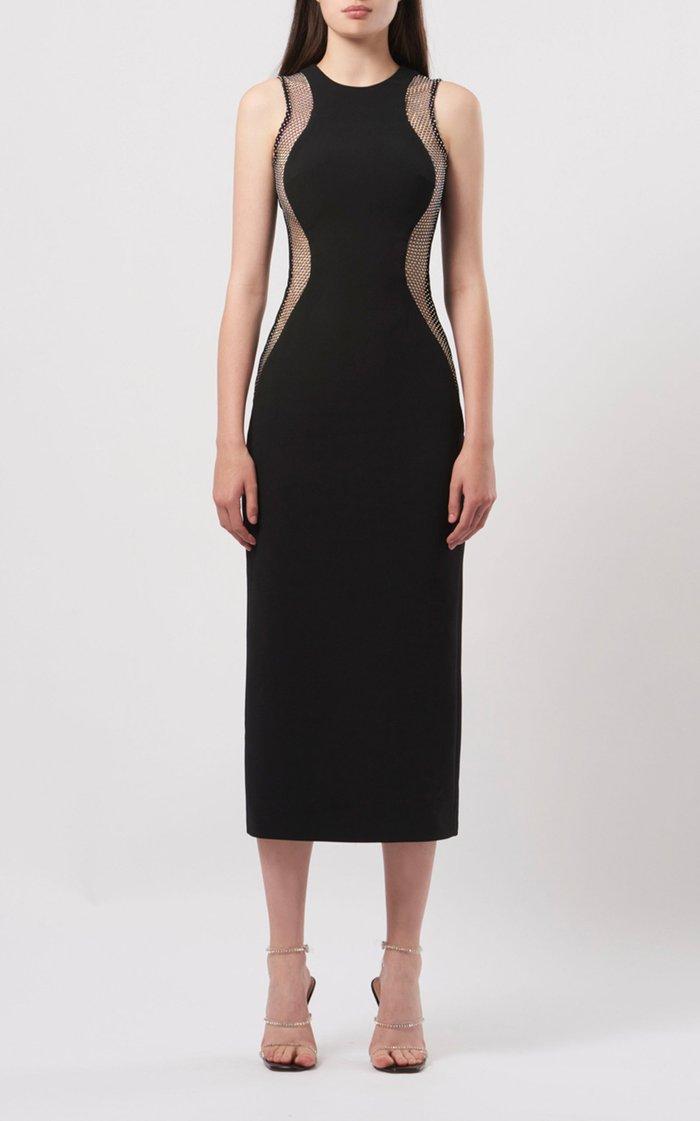Crystal-Mesh Crepe Midi Dress
