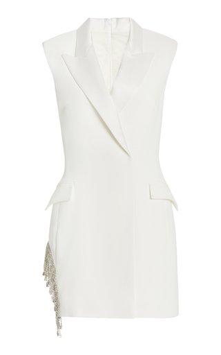Crystal-Embellished Crepe Mini Blazer Dress