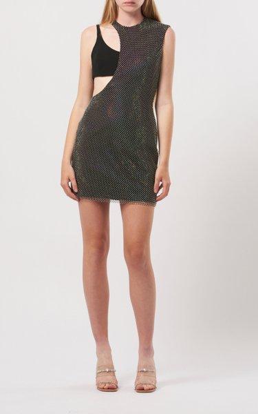 Crystal-Mesh Overlay Cutout Crepe Mini Dress