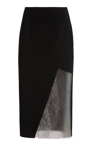 Crystal-Embellished Crepe Midi Wrap Skirt
