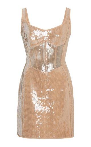 Sequined Crepe Corset Mini Dress