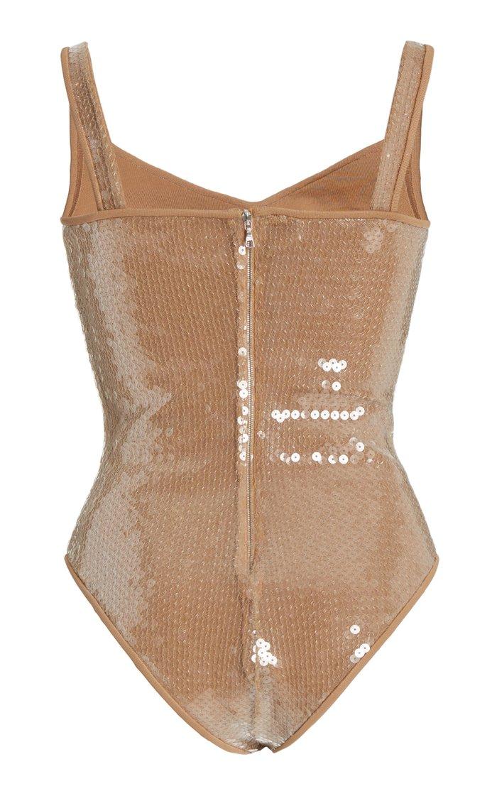 Sequined Crepe Corset Bodysuit