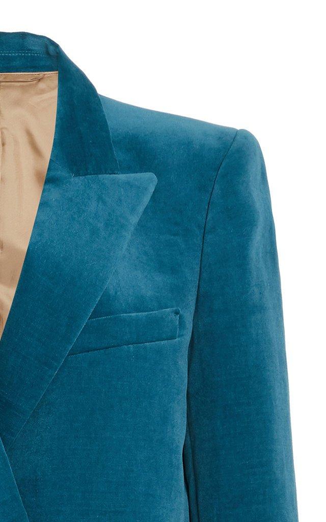 Jealousy Everynight Cotton-Linen Velvet Double-Breasted Blazer