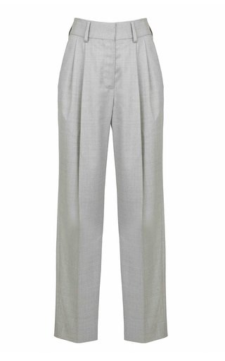 Argyll Banker Pleated Wool Straight-Leg Trousers
