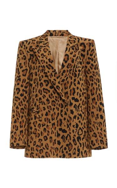 Simba Everynight Leopard Silk Double-Breasted Blazer