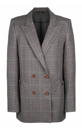 Custom Made Everynight Checked Linen-Cotton Double-Breasted Blazer