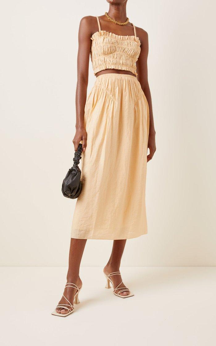 Liz Smocked Crepe Midi Skirt
