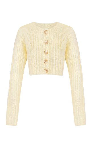 Tavria Cable-Knit Wool-Blend Cropped Cardigan