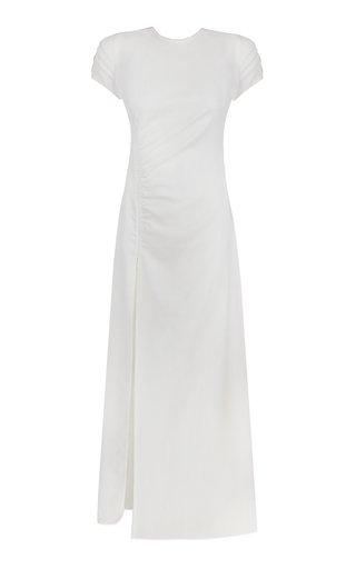 Magnolia Ruched Crepe Maxi Dress