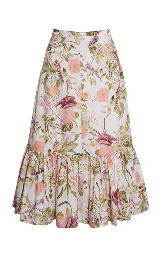 Georgica Floral Poplin Midi Skirt