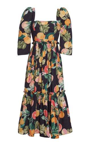 Blue Hill Floral Poplin Midi Dress