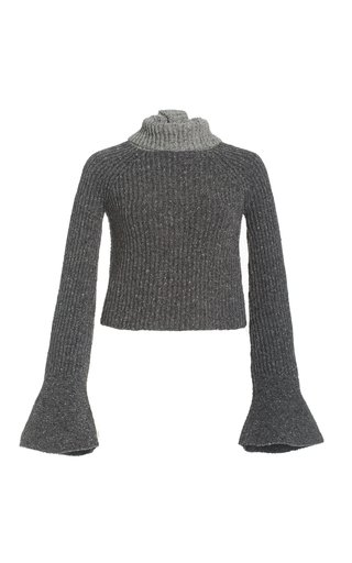 Two-Tone Ribbed-Knit Scarf Sweater
