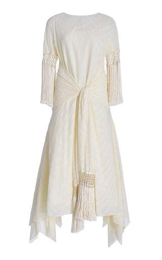 Fringed Cotton-Blend Midi Scarf Dress