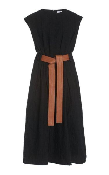 Belted Wool Midi Dress