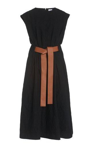 Belted Wool-Blend Midi Dress